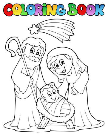 Coloring book Nativity scene 1  Illustration
