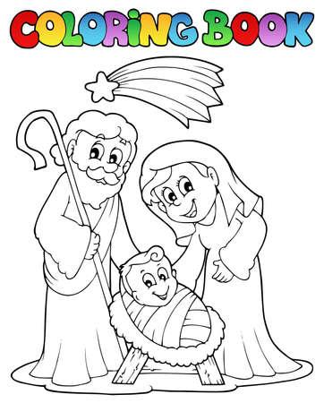 colouring: Coloring book Nativity scene 1  Illustration