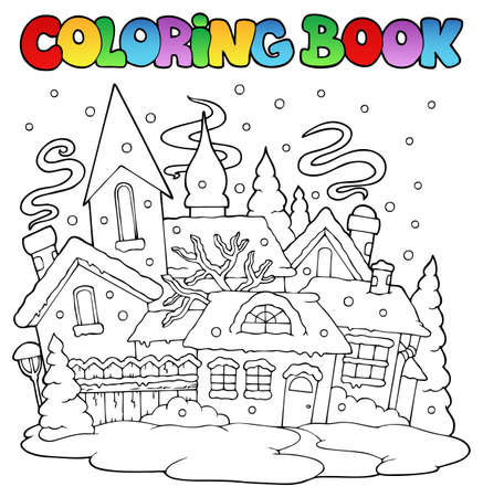 composition book: Coloring book winter town image 1
