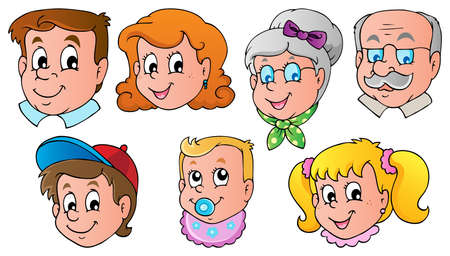 Family faces theme image 1  Vector
