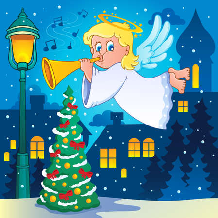 christmas angels: Image with angel 4 - vector illustration  Illustration