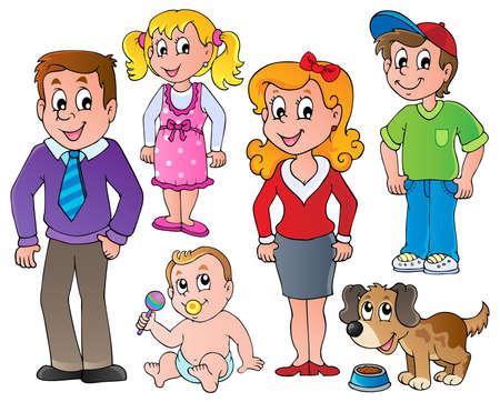 perro familia: La gente y la colección de la familia 1 Vectores