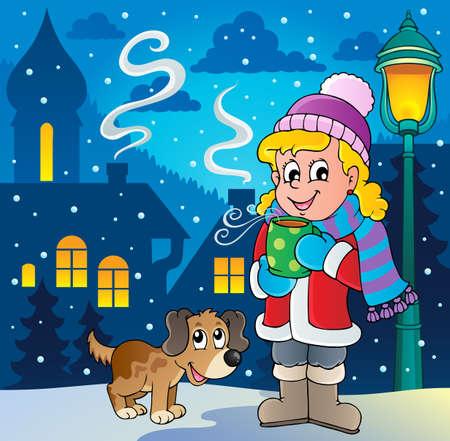 neckscarf: Winter person cartoon image 2 - vector illustration  Illustration