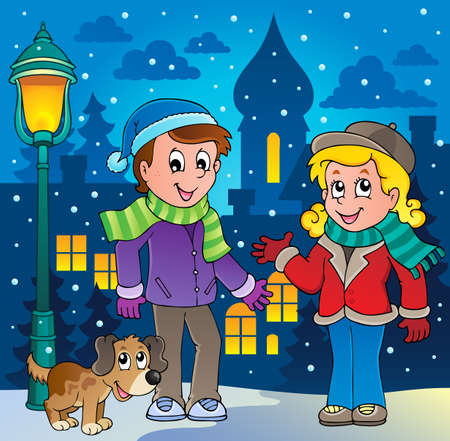 clothes cartoon: Image de dessin anim� d'hiver 3 personne Illustration
