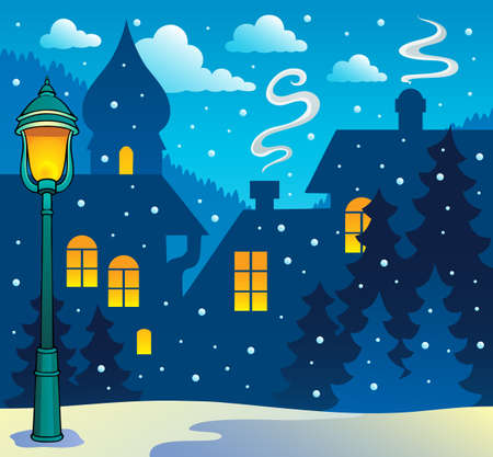 Winter town theme image 3  Vector