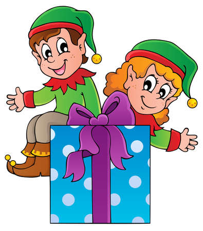 Christmas elf theme 3 - vector illustration  Illustration