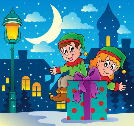 Christmas elf theme 4 - vector illustration  Vector