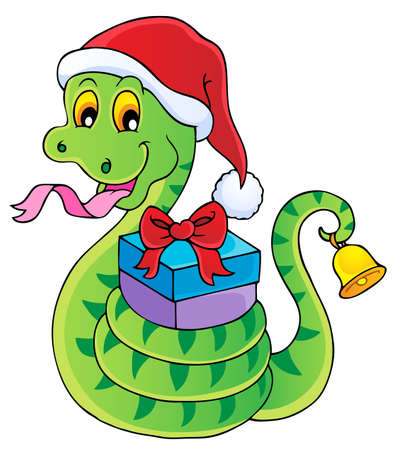Christmas snake theme image 1 - vector illustration  Illustration