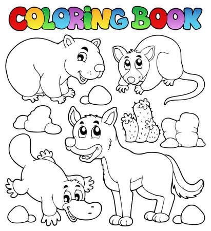 wombat: Colorear fauna libro australiano 1 - ilustraci�n vectorial