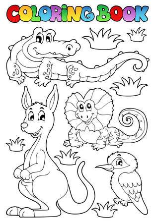 libro caricatura: Colorear fauna australiana 2 libros - ilustración vectorial Vectores