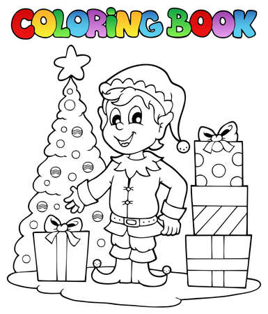 Coloring book Christmas elf theme 1 - vector illustration  Vector
