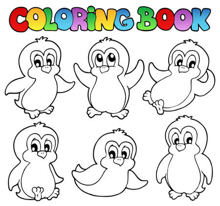 Coloring book cute penguins 1 - vector illustration  Vector