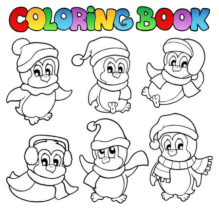 Coloring book cute penguins 3 - vector illustration  Vector