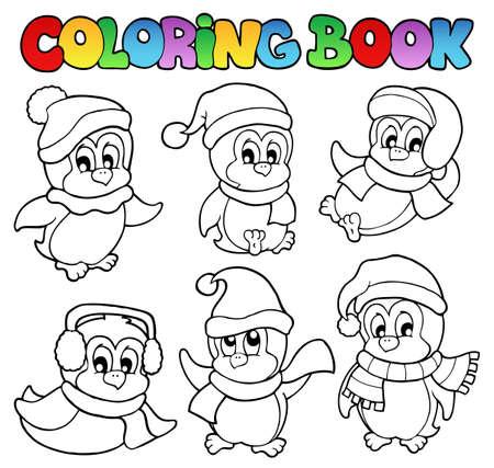 neckscarf: Coloring book cute penguins 3 - vector illustration