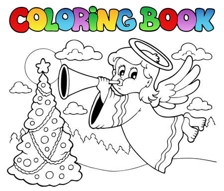 Coloring book image with angel 2 - vector illustration  Vector