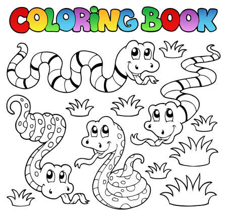 Coloring book slangen thema 1 - vector illustration