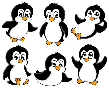Cute penguins collection 1 - vector illustration