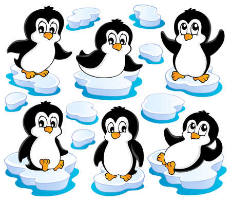 Cute penguins collection 2 - vector illustration  Illustration