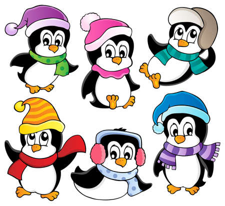 Cute penguins collection 3 - vector illustration  Illustration