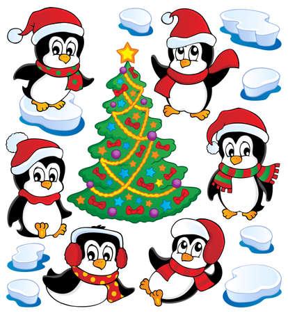 pinguinos navidenos: Ping�inos colecci�n linda 4 - ilustraci�n vectorial