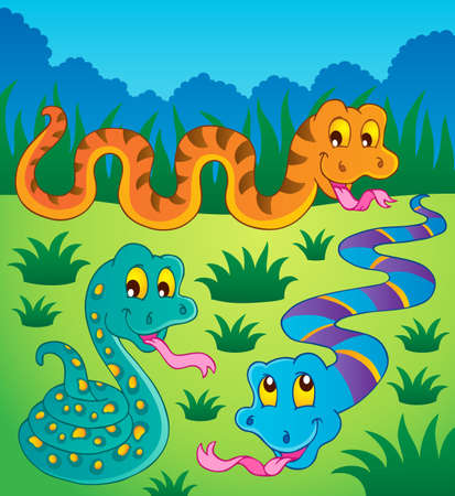 hayfield: Image with snake theme 1 - vector illustration