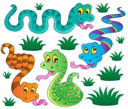cartoon snake: Various snakes theme collection 1 - vector illustration