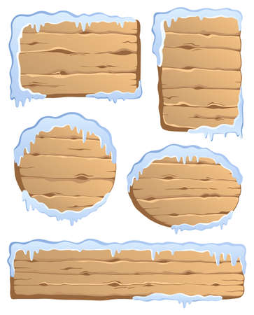 wooden panel: Winter labels theme image 3 - vector illustration