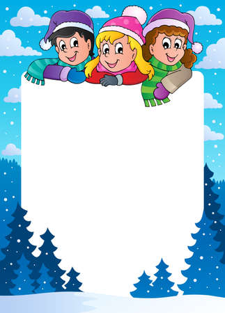 snowing: Winter theme frame 1 - vector illustration  Illustration