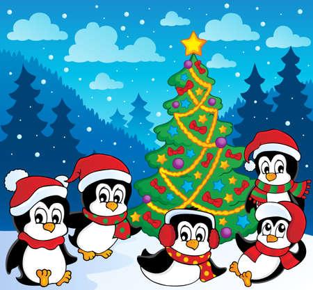 neckscarf: Winter theme with penguins 3 - vector illustration