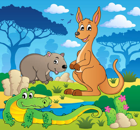 Australian animals theme illustration  Vector