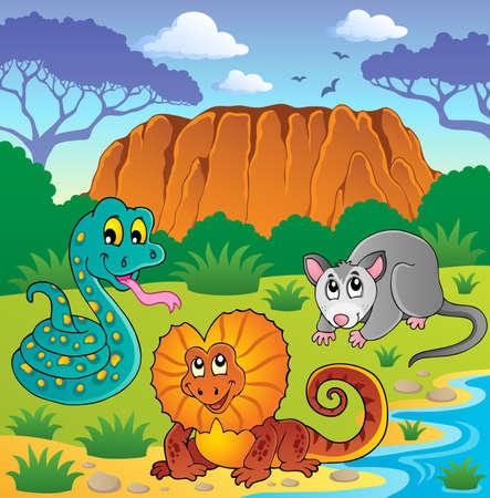 frilled: Australian animals theme illustration  Illustration