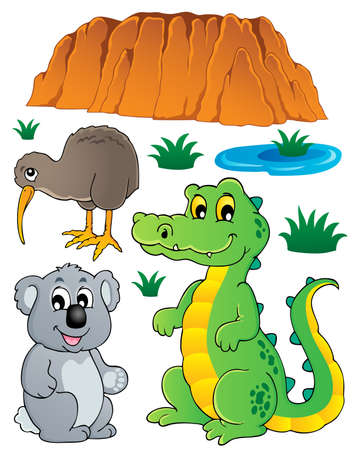 Australian wildlife fauna set illustration