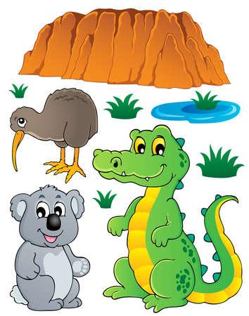 reptilian: Australian wildlife fauna set illustration