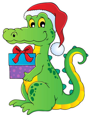 Christmas crocodile theme image 1 - vector illustration  Vector