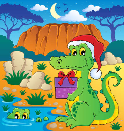 Christmas crocodile theme image illustration  Stock Vector - 16906749