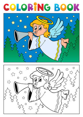 Coloring book angel theme image illustration  Vector