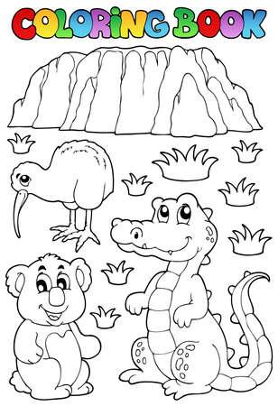 Coloring book Australian fauna illustration