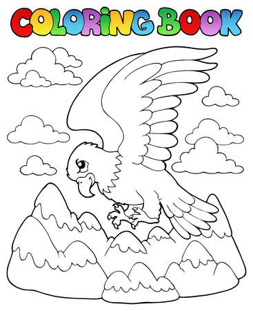 Coloring book bird image illustration