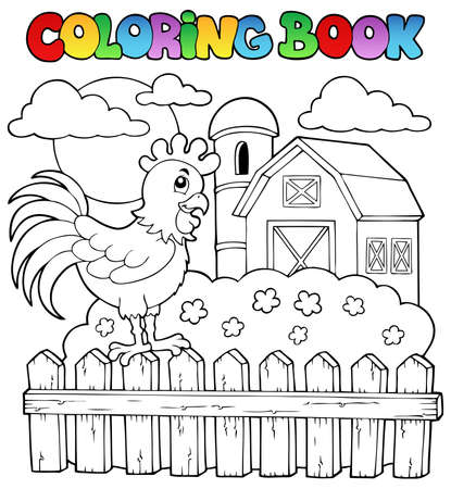 farm structures: Coloring book bird image illustration