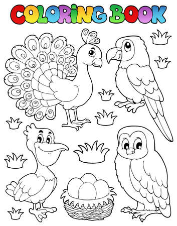 Coloring book bird image illustration