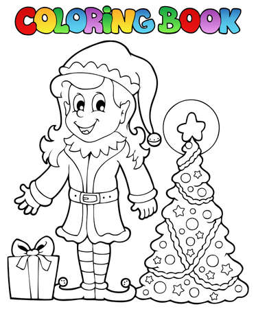 Coloring book Christmas elf theme illustration  Vector