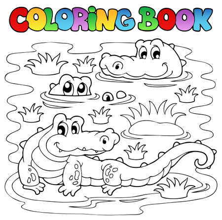 Coloring book crocodile image illustration  Illustration