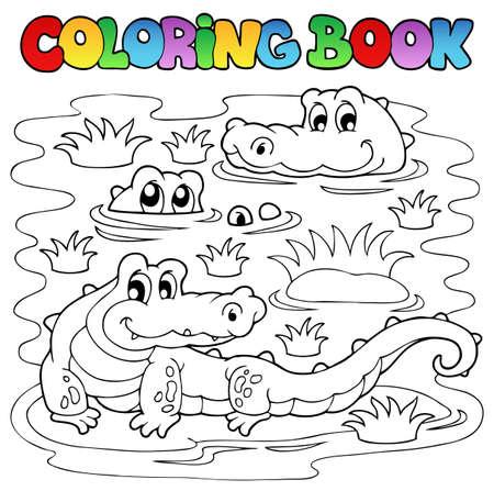 Libro De Colorear Del Tema Del Libro De Cocodrilo - Eps10 ...