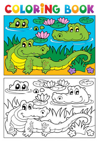 Coloring book crocodile image illustration  Stock Vector - 16906691