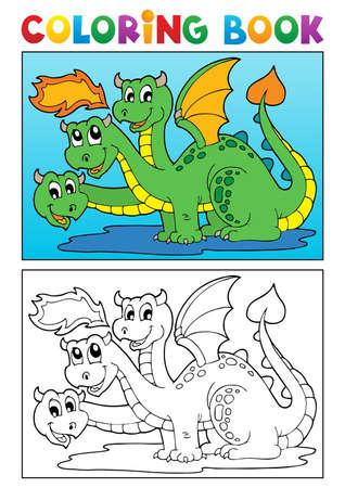 Coloring book dragon theme image illustration  Illustration