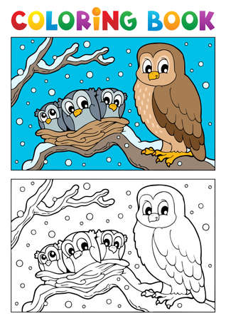 Coloring book owl theme illustration  Vector