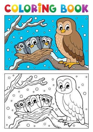 owlet: Libro para colorear ilustraci�n tema b�ho