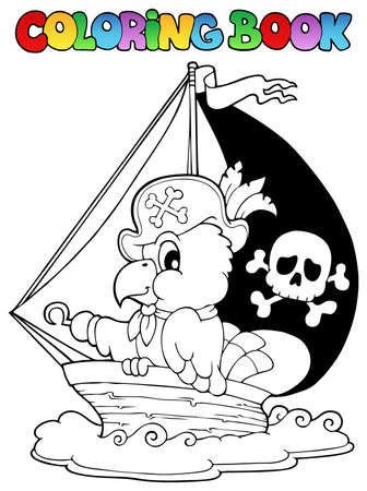 Coloring book pirate parrot theme illustration Stock Vector - 16906774