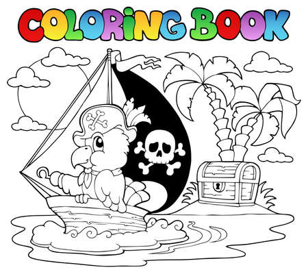 Coloring book pirate parrot theme illustration  Vector
