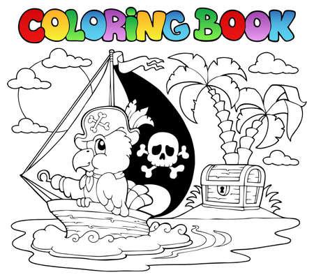 neckscarf: Coloring book pirate parrot theme illustration  Illustration